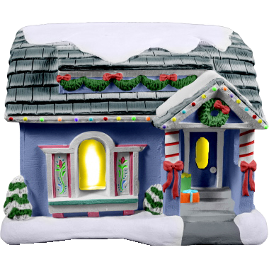 Light Up Christmas Village House Painted