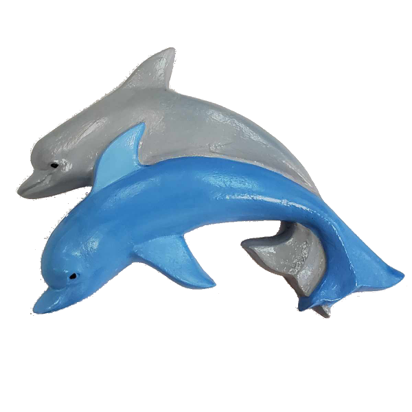 Dolphins Plaster Painted