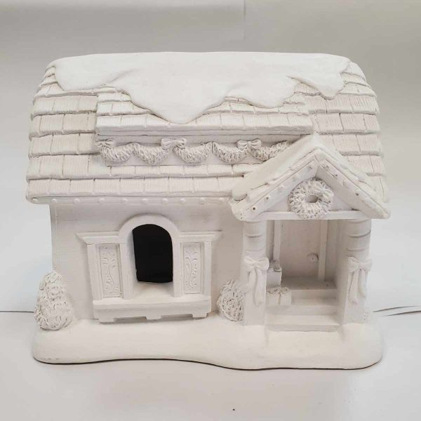 Plaster Paint Light Up Christmas Village House