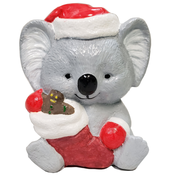Christmas Koala Statue Painted