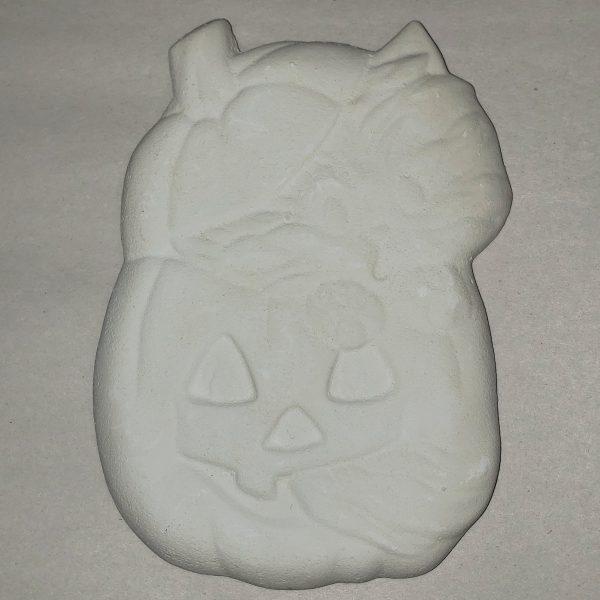 Plaster Paint Kitten in Jack O Lantern