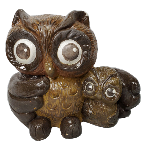 Owl & Baby Statue Painted