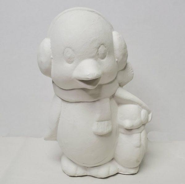 Plaster Paint Penguin & Baby Statue