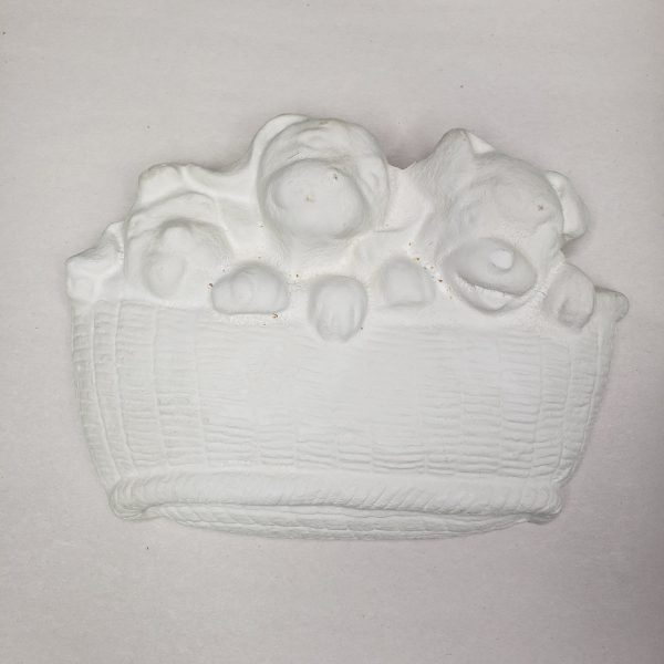 Plaster Paint Puppies in Basket