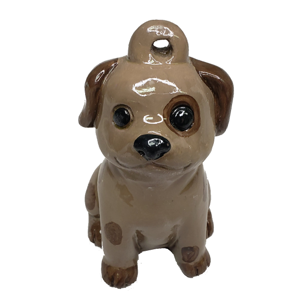 Puppy Dog Christmas Ornament Plaster Painted