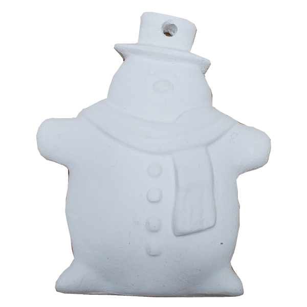 Plaster Paint Snowman Christmas Ornament