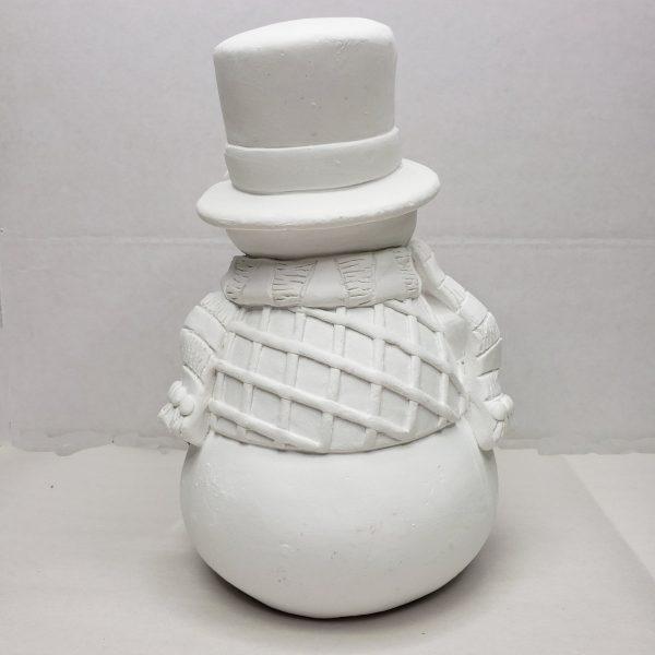 Plaster Paint Snowman Statue Rear