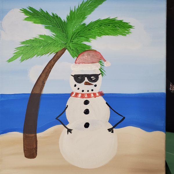 Summer Snowman Canvas Painting