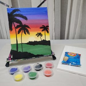 Sunset Palm Trees Canvas Paint Kit