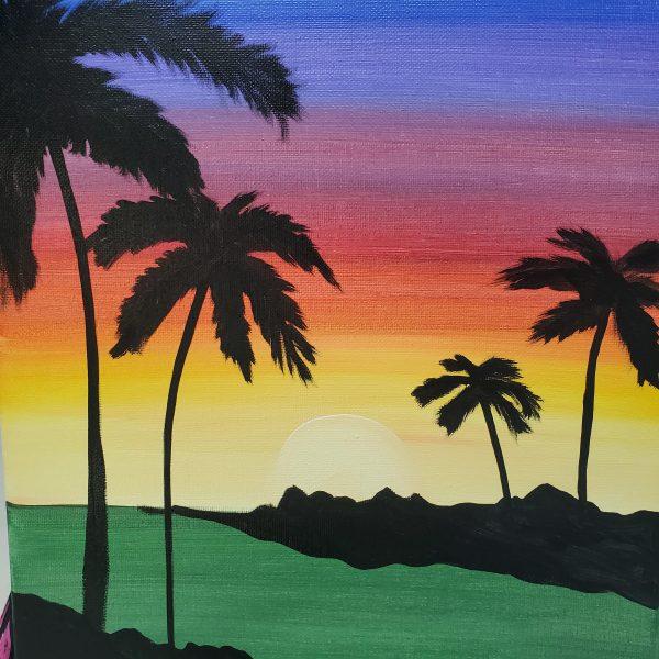 Sunset Palm Trees Canvas Art
