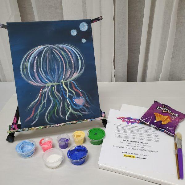 Glow in Dark Jellyfish Canvas Paint Kit