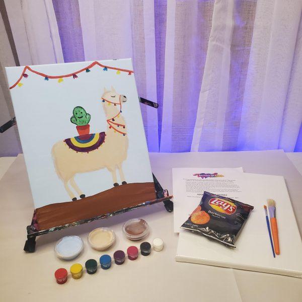 Cactus Llama Canvas Painting Lesson