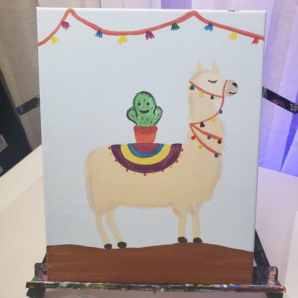 Cactus Llama Canvas Painting