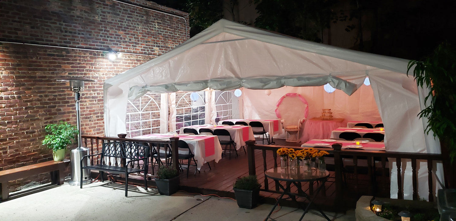 Heated Outdoor Party Tent Night