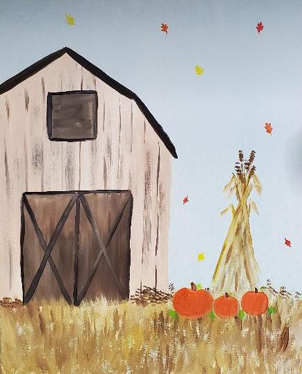 Autumn Barn Canvas Painting