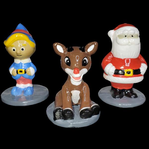 Rudolph the Red-Nosed Reindeer, Santa, Elf Figurines