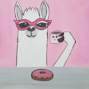 Paint & Sip Cocoa Llama Canvas Painting