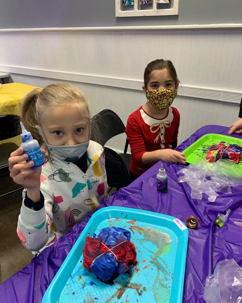 Cute girls making tie dye