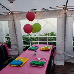 Outdoor party tent balloons