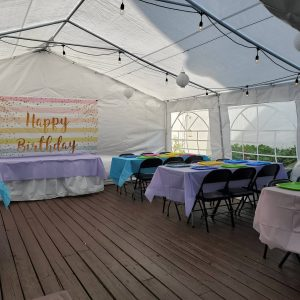 Colorful theme party in outdoor tent