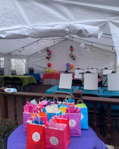 Canvas party in outdoor party tent