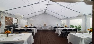 Outdoor party tent setup
