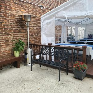 Party patio with heater