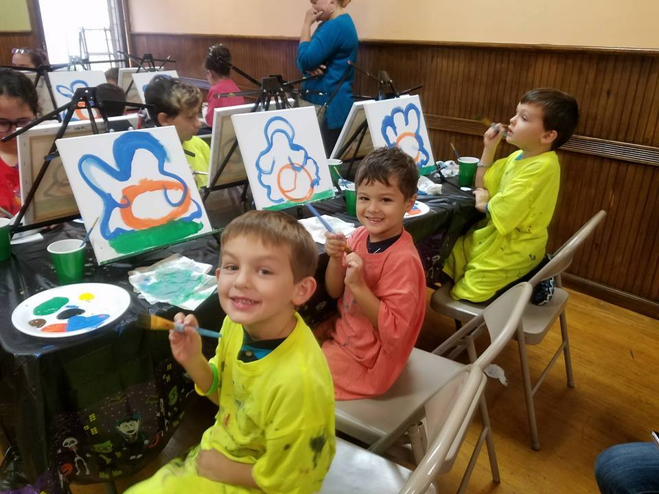 Happy children at Canvas paint party