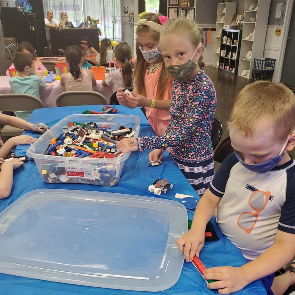 children playing legos
